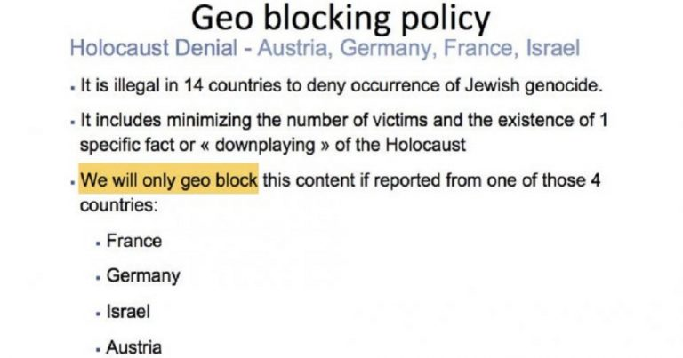 Facebook's official policy is not to remove Holocaust denial in all but four countries
