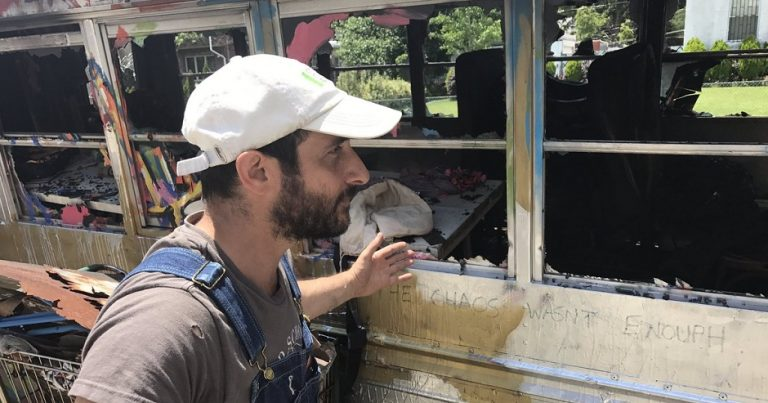 "Arson attack on Jewish artist's ""iconic"" Mitzvah bus in New York"
