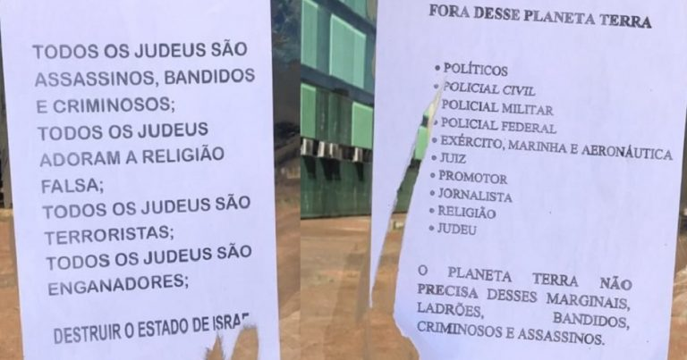 "Flyers in Brazil claim that ""All the Jews are murderers"" who should be pushed ""out the country"""