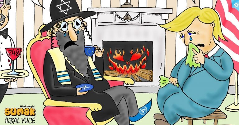 """Turkish """"satire"""" shows a caricature of a Jew drinking blood, controlling world politics"""