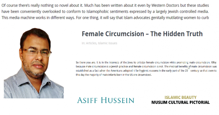 """Antisemitic conspiracy theory claims Jews are behind """"Islamophobic"""" opposition to female genital mutilation"""