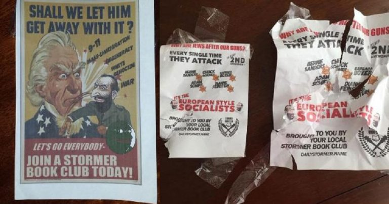 Neo-Nazi recruiting posters found near University of Omaha Nebraska, as neo-Nazi groups increasingly seek to recruit students